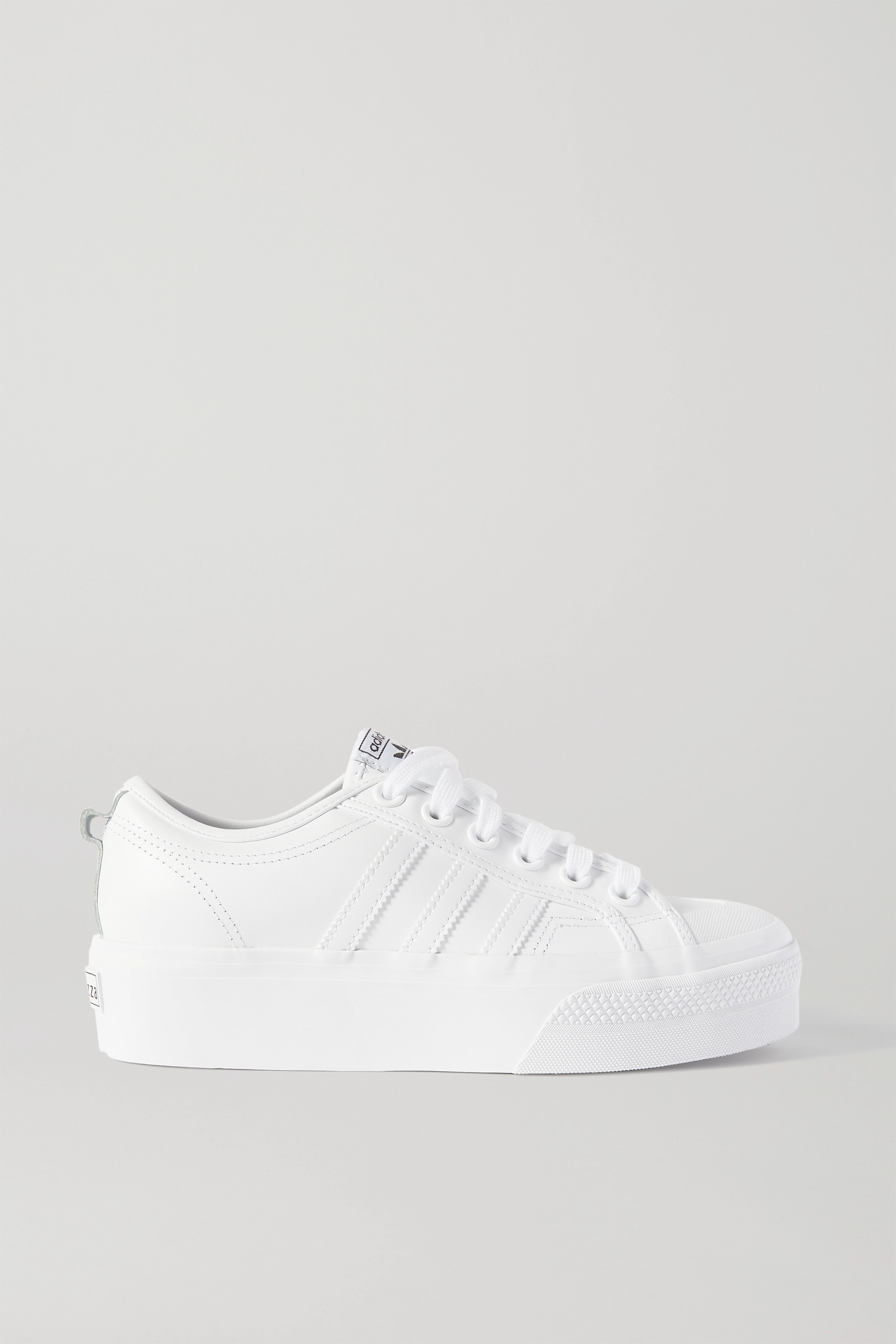 platform white sneakers leather