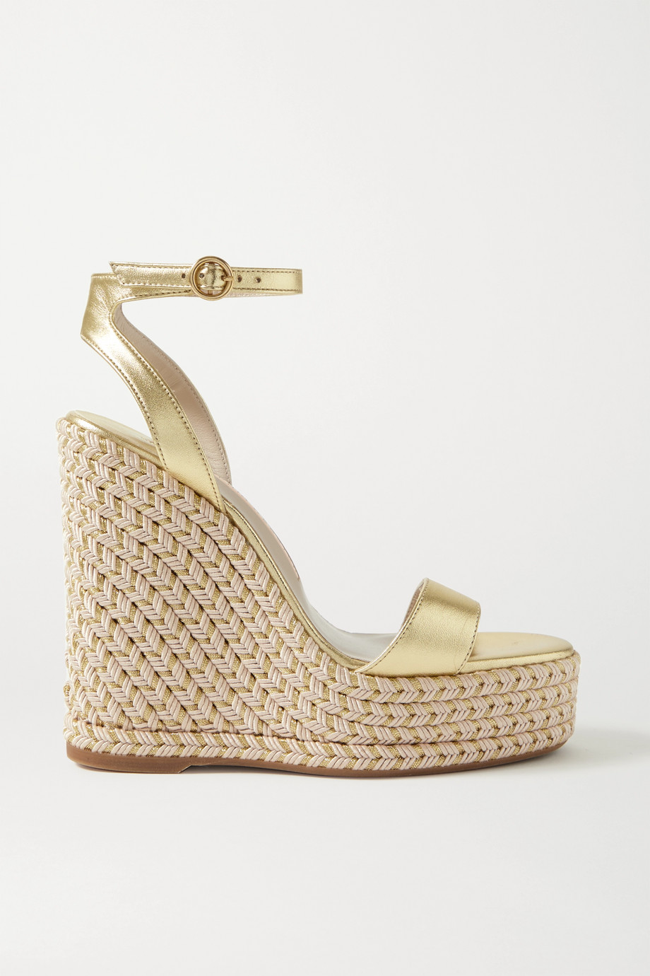 Sophia Webster Lucita metallic leather espadrille wedge sandals