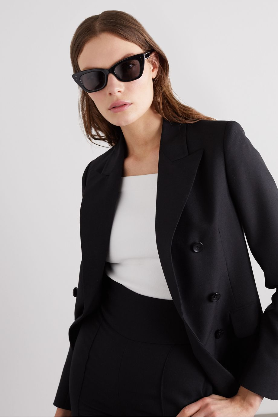 Alaïa Cat-eye studded acetate sunglasses
