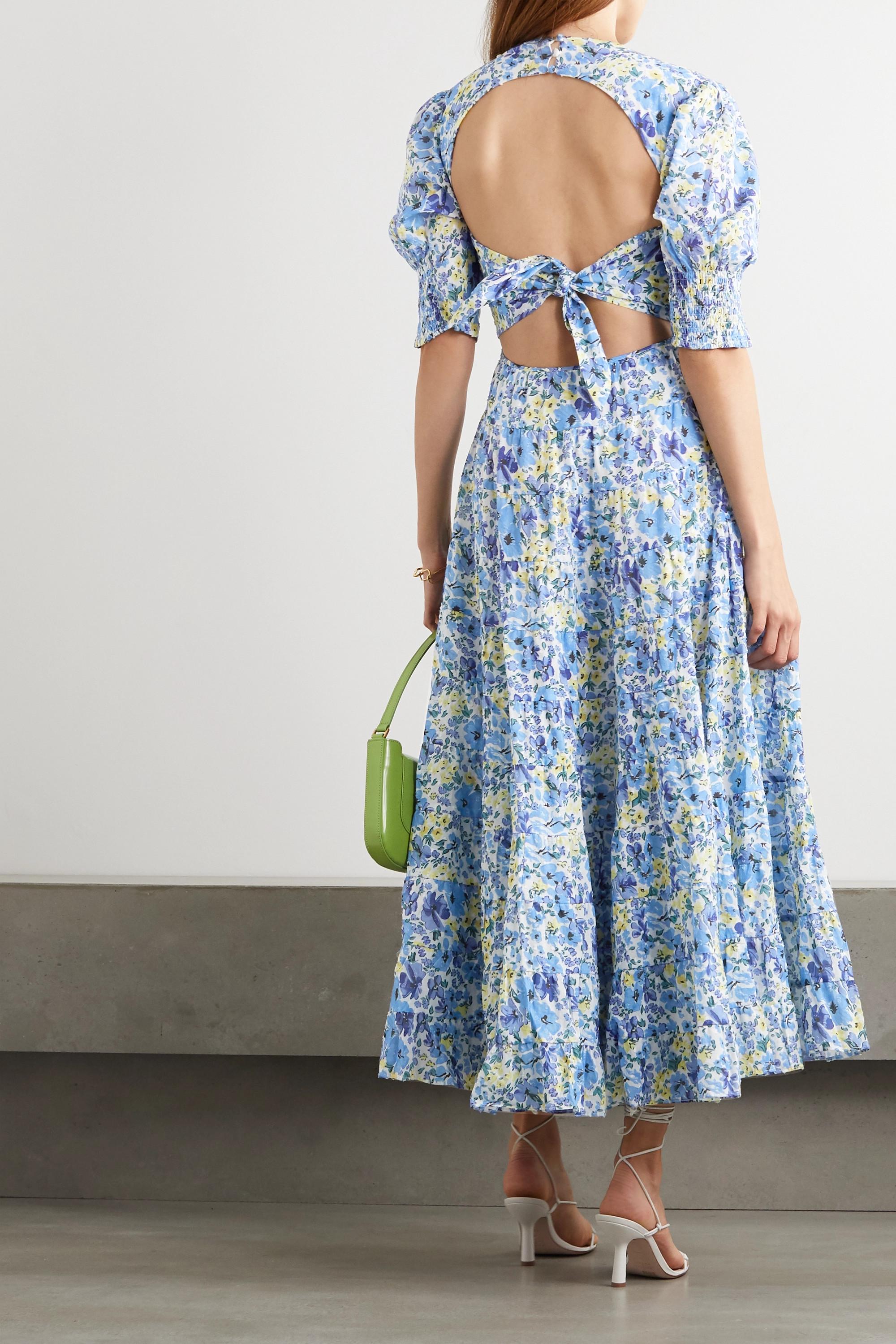 RIXO Agyness cutout tiered floral-print fil coupé cotton maxi dress