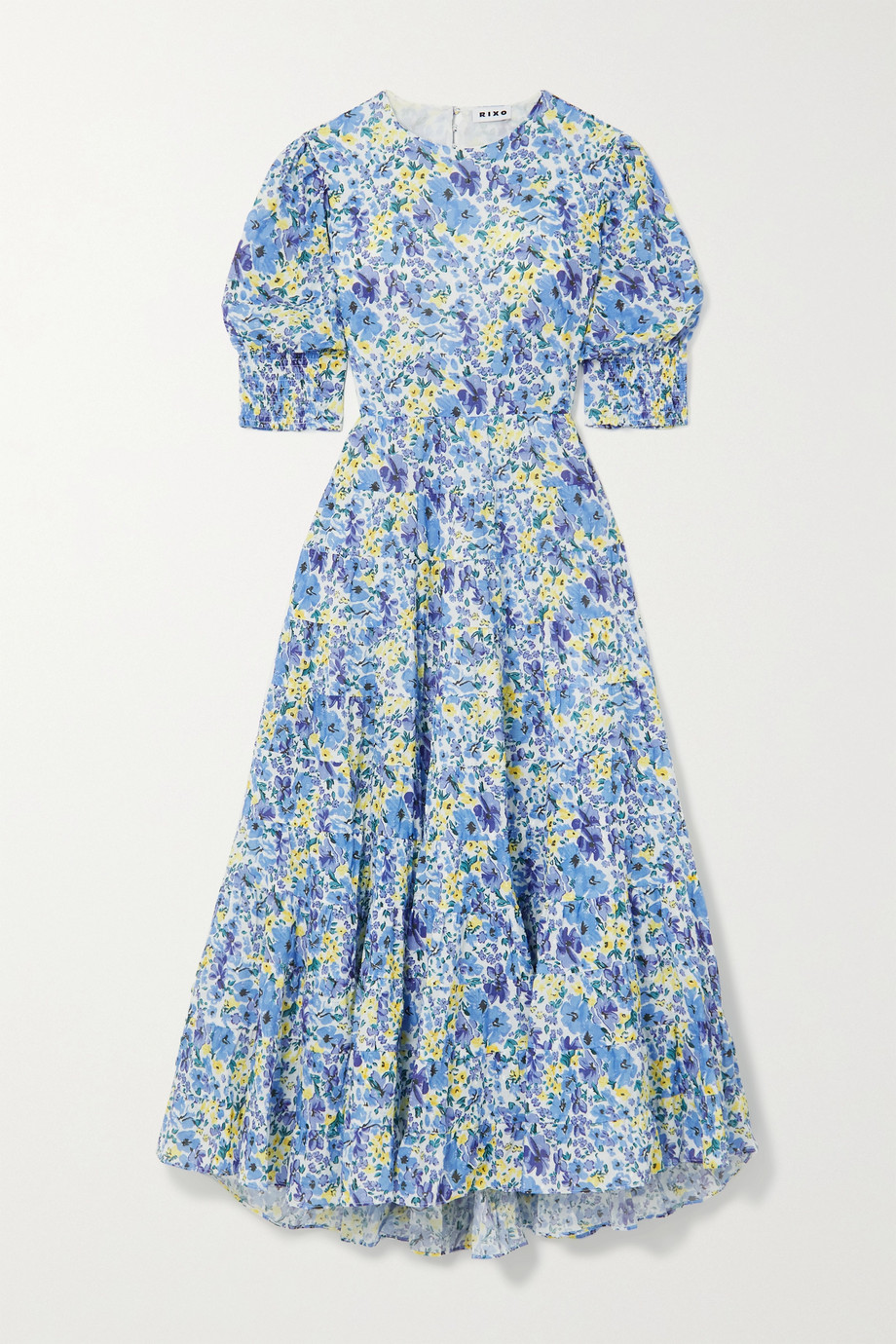 RIXO Agyness cutout tiered floral-print fil coupé cotton maxi dress