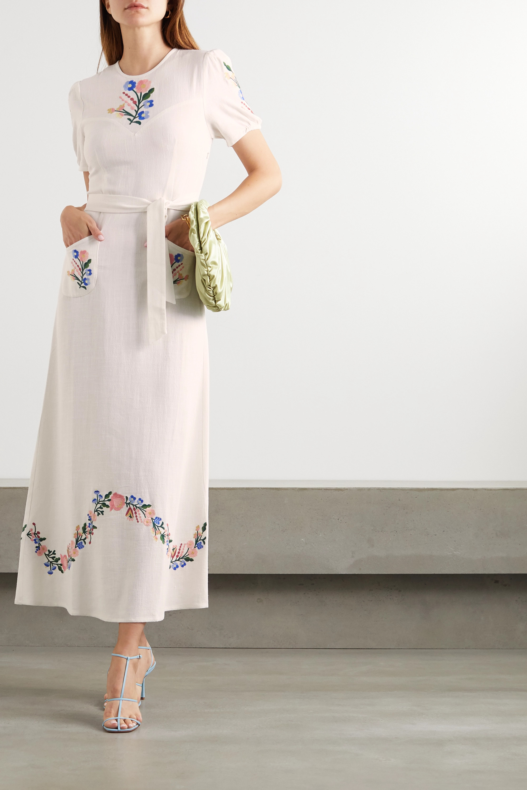 RIXO Dominique belted embroidered gauze midi dress