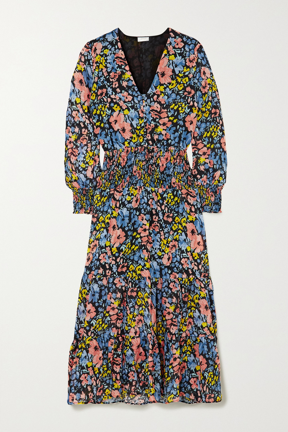 RIXO Maya shirred floral-print cotton maxi dress