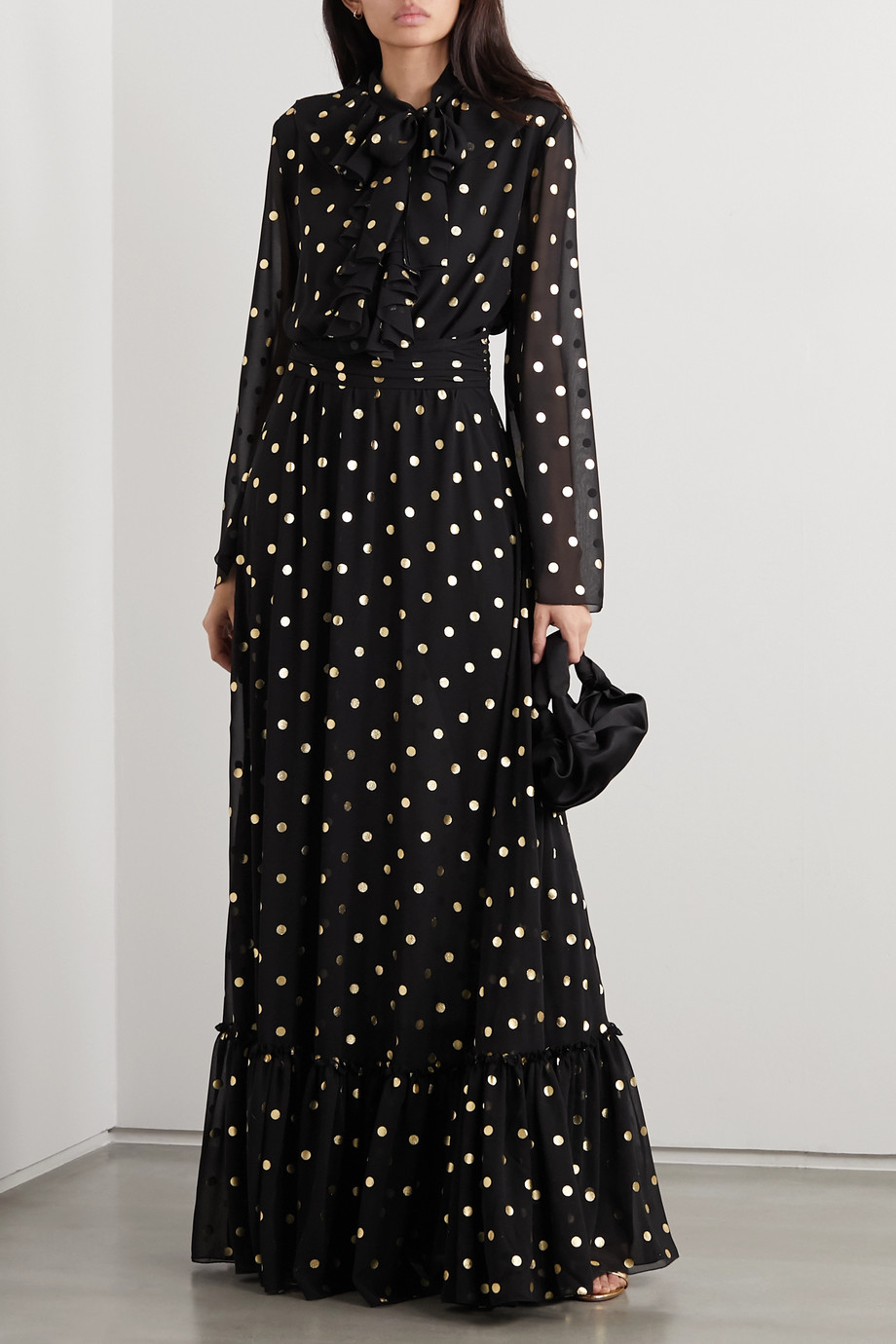 Redemption Pussy-bow ruffled metallic polka-dot chiffon gown