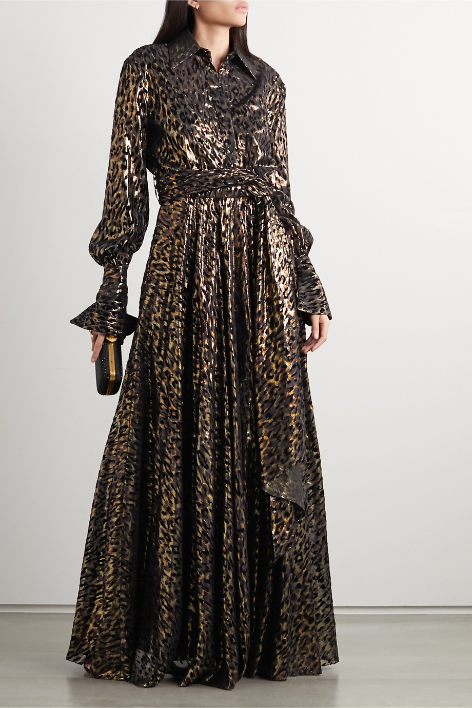 Redemption Belted metallic flocked silk-blend gown
