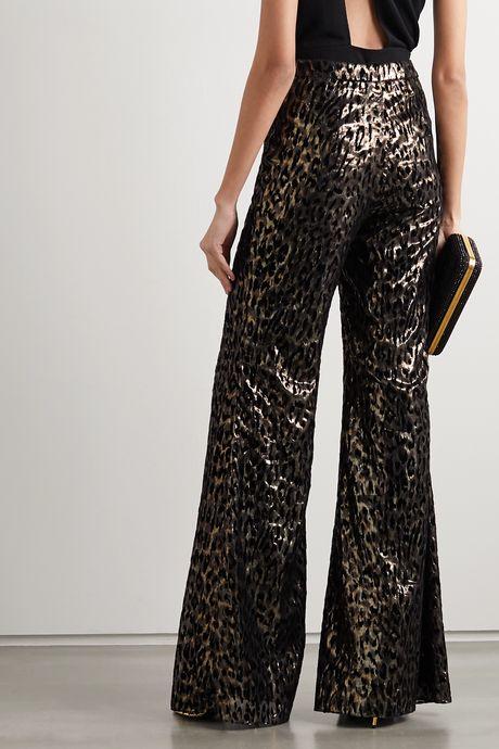 Black Metallic flocked silk-blend wide-leg pants | Redemption lxoL2Z