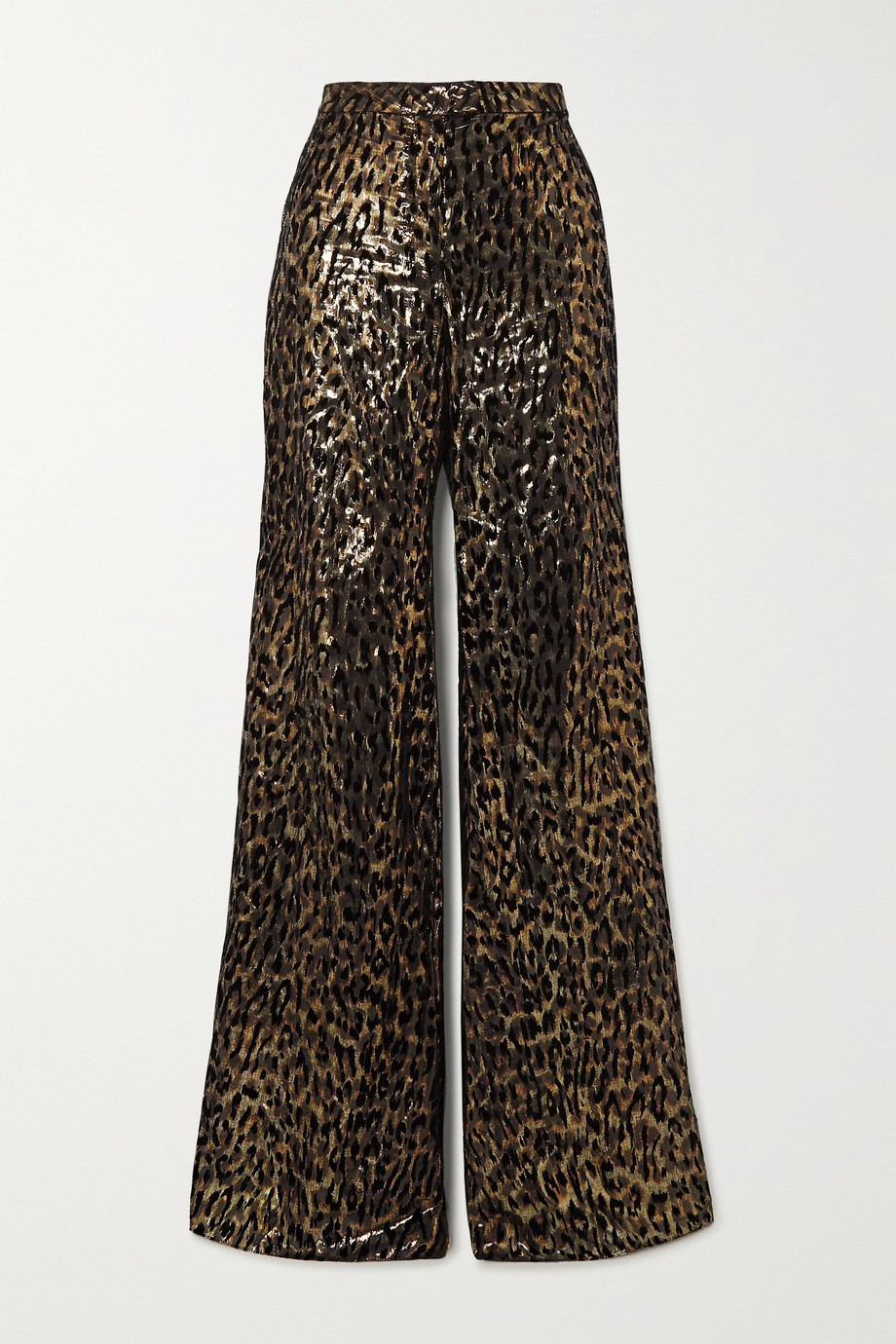Redemption Metallic flocked silk-blend wide-leg pants