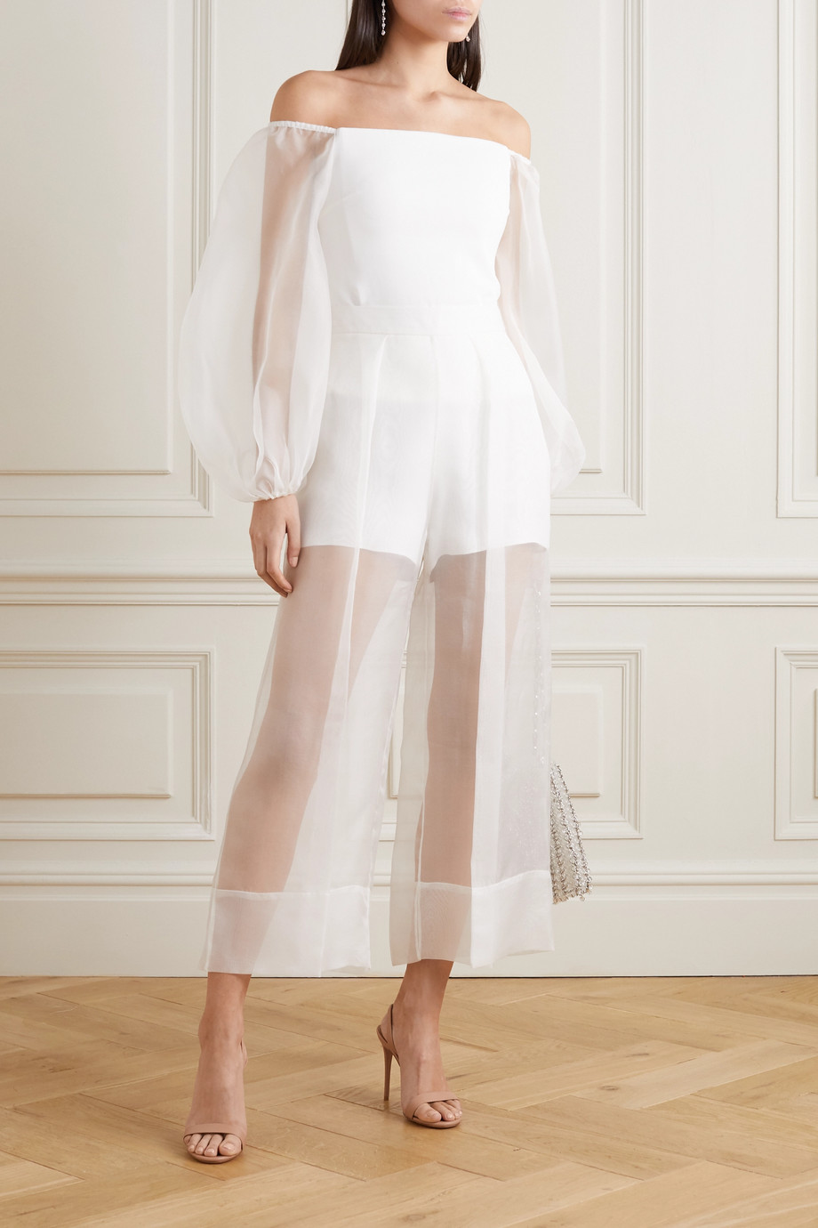 Cushnie Off-the-shoulder cady and silk-organza top
