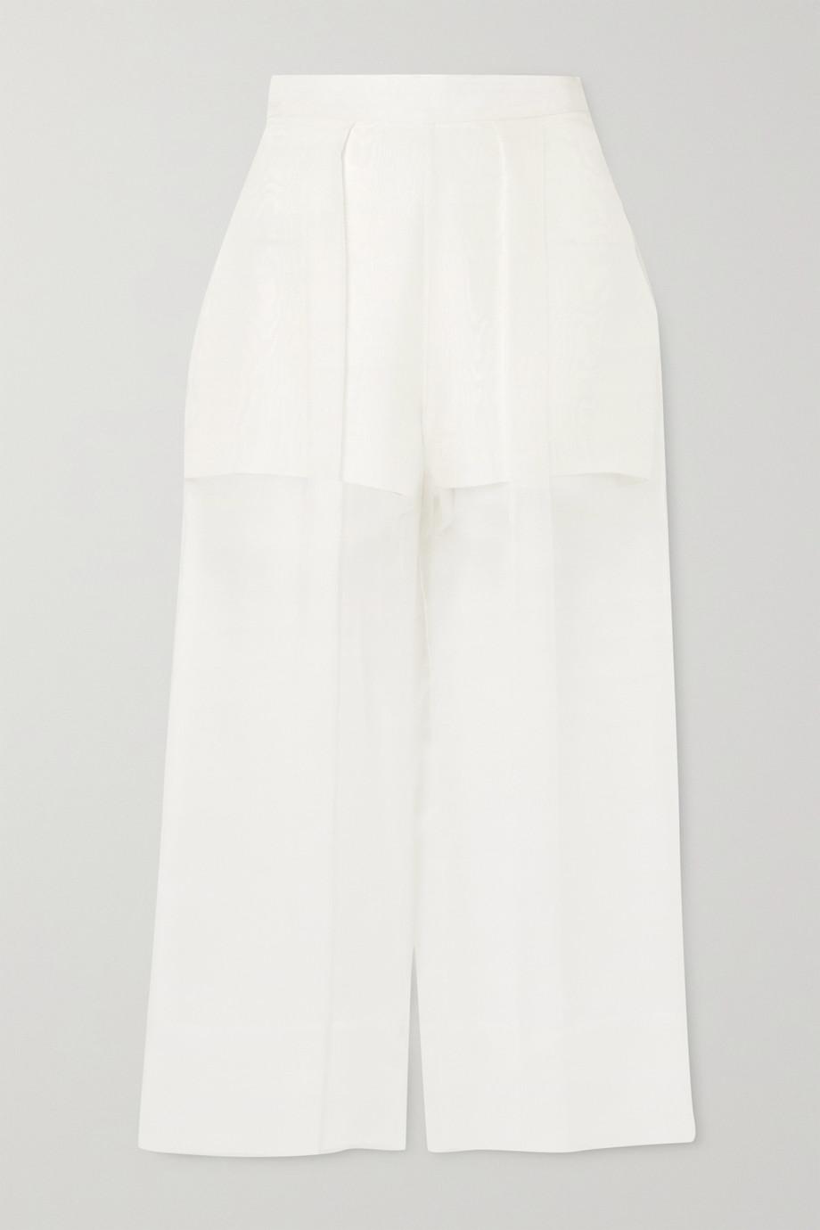 Cushnie Cropped silk-organza and crepe wide-leg pants
