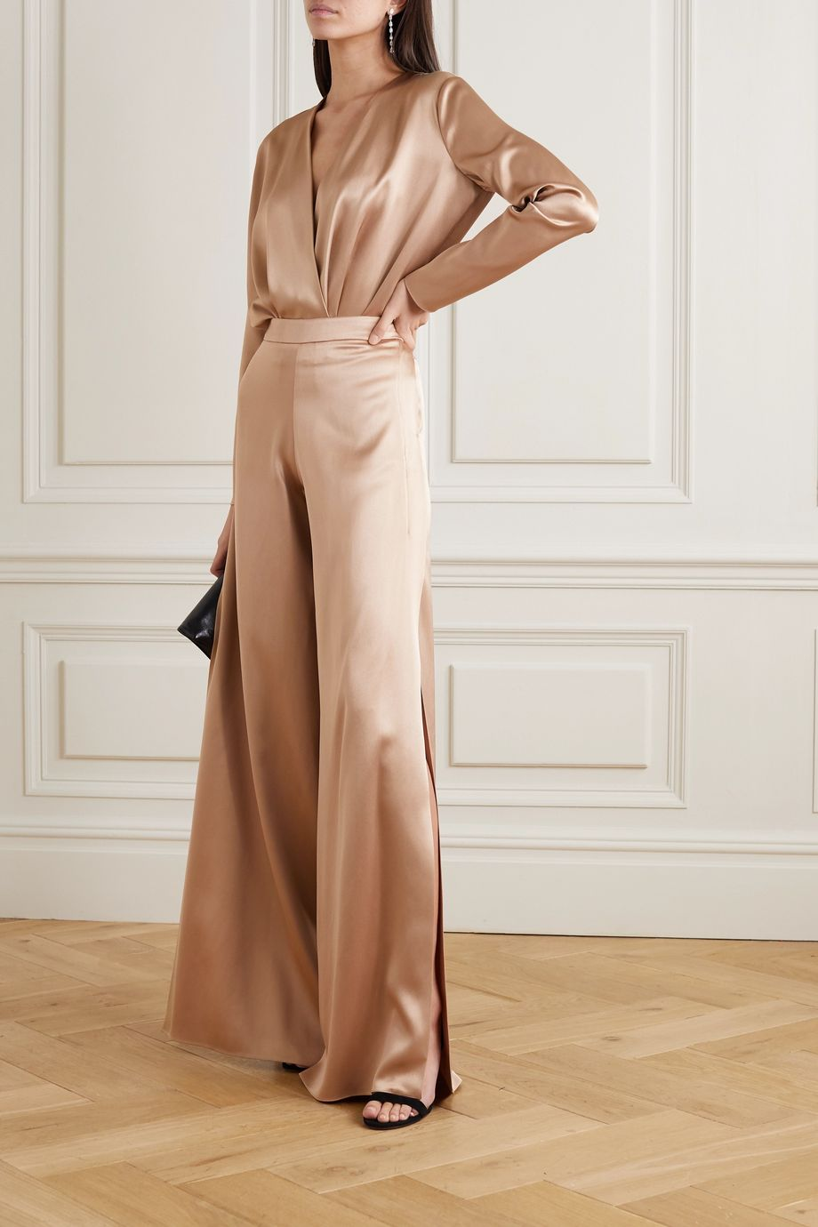 Cushnie Wrap-effect silk-charmeuse bodysuit