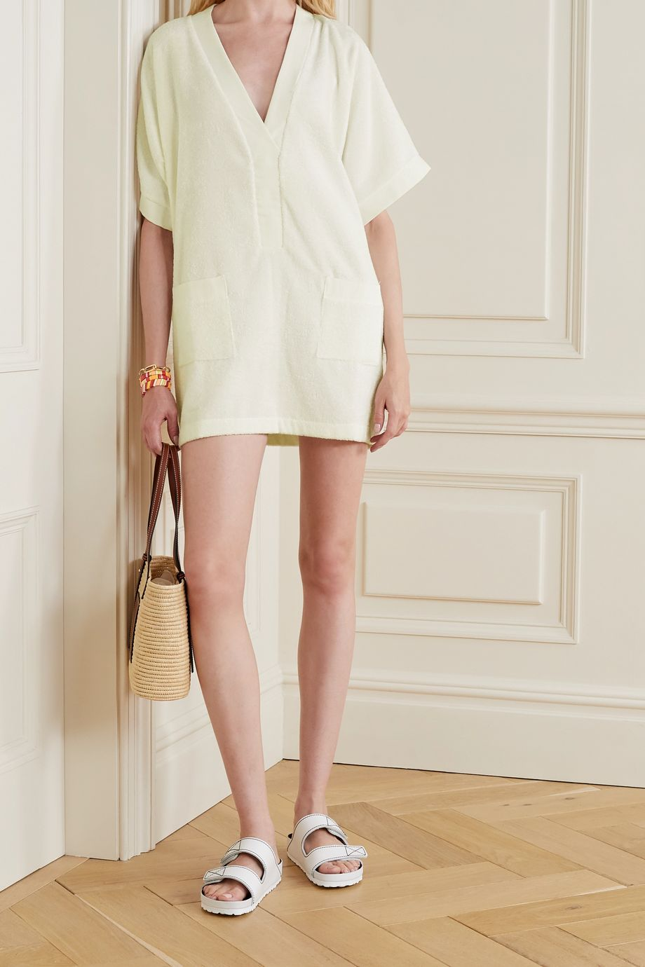 Tooshie Positano cotton-terry mini dress