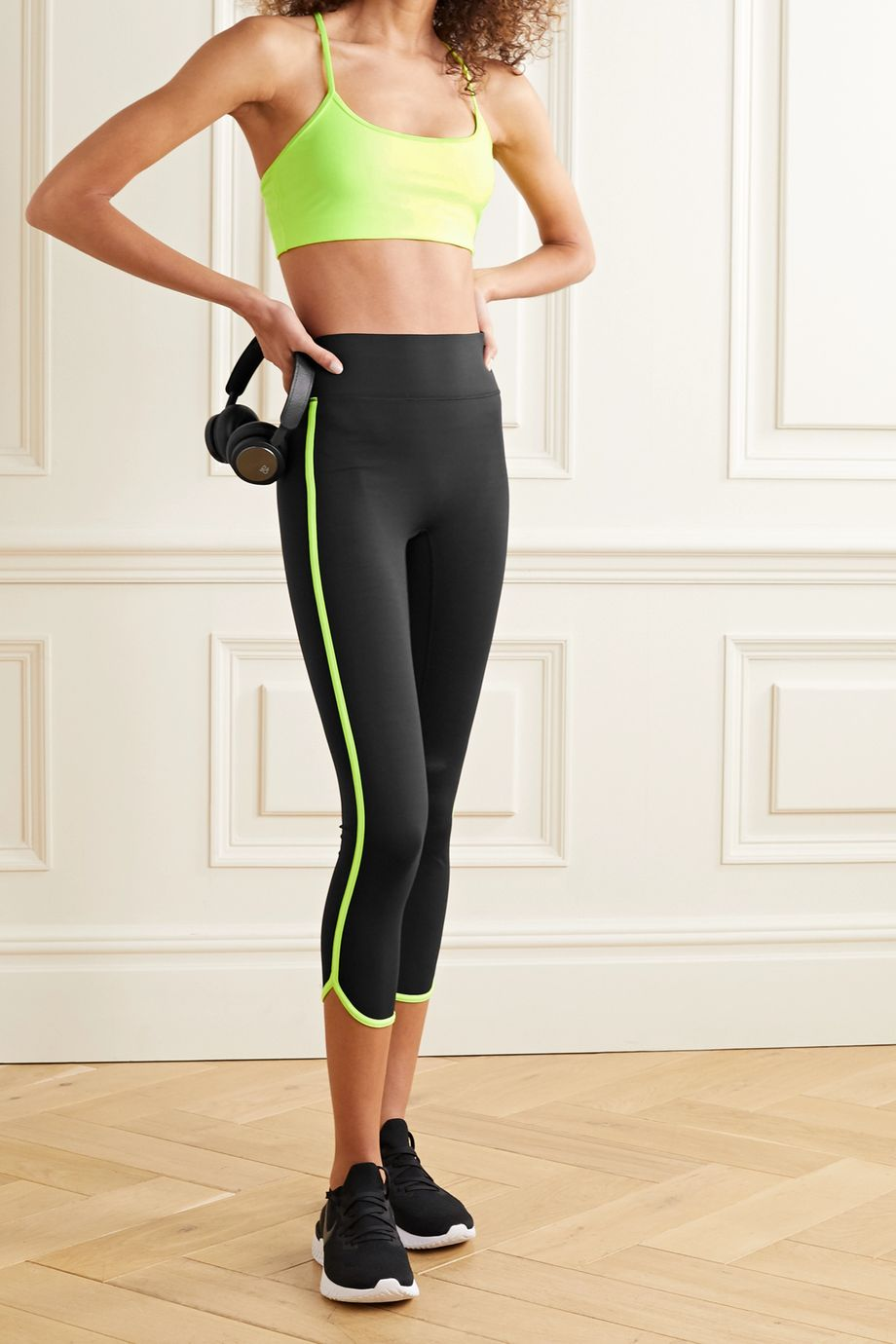 All Access Vinyl Record verkürzte Stretch-Leggings mit Streifen