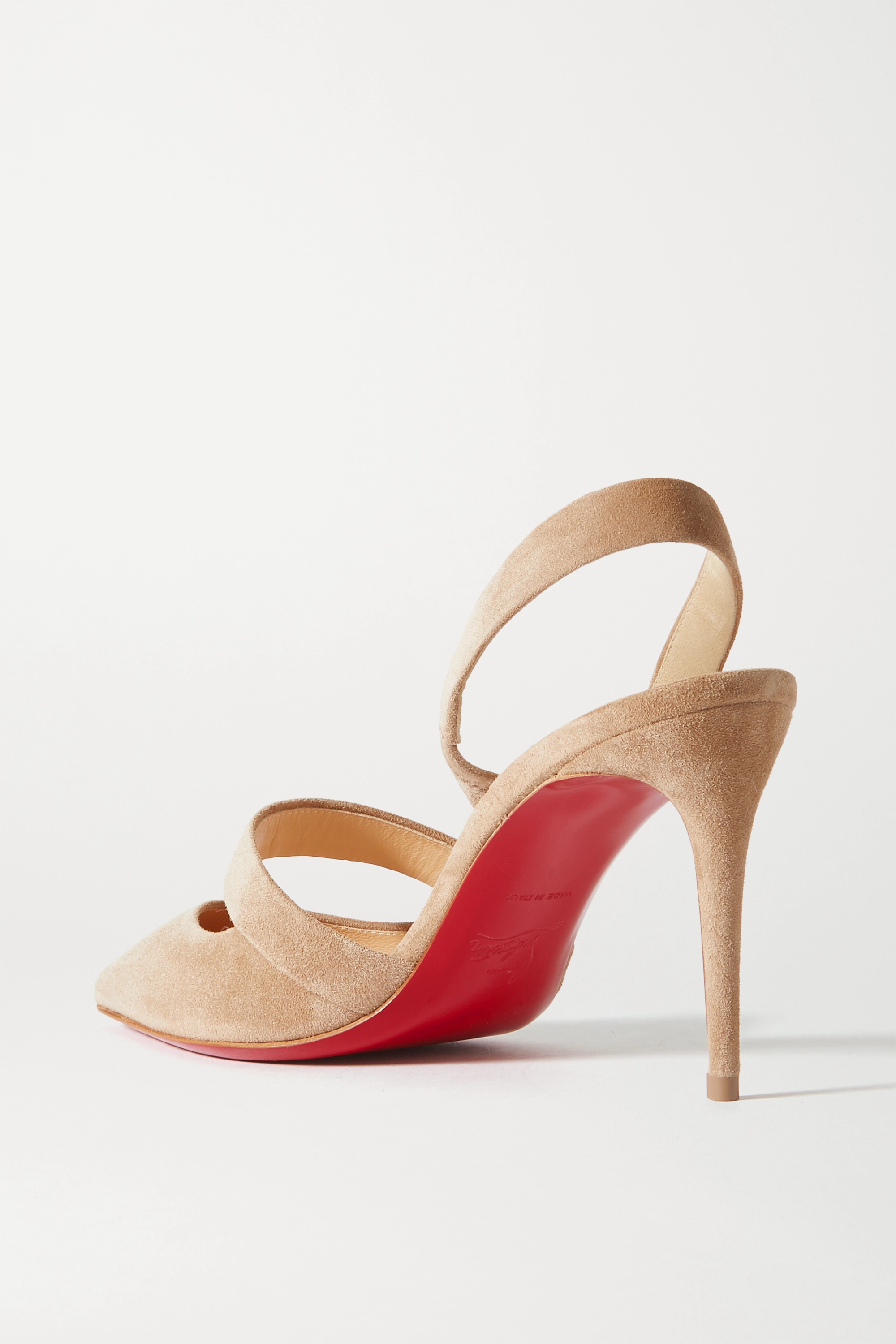 Neutral Actina 85 Suede Slingback Pumps | Christian Louboutin