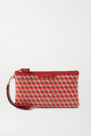 Anya Hindmarch + NET SUSTAIN I Am A Plastic Bag leather-trimmed printed coated-canvas pouch