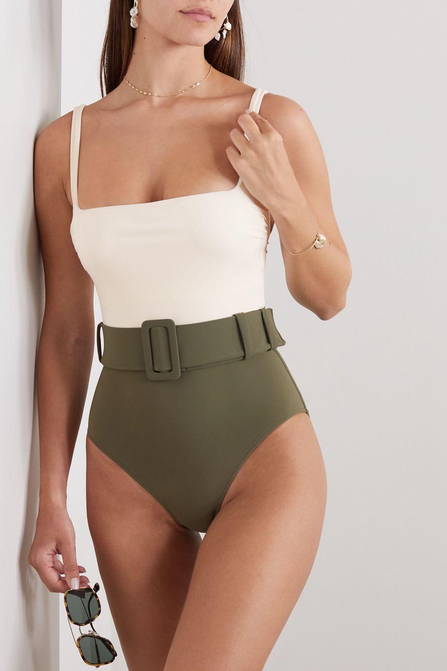 Evarae Cassandra belted two-tone swimsuit