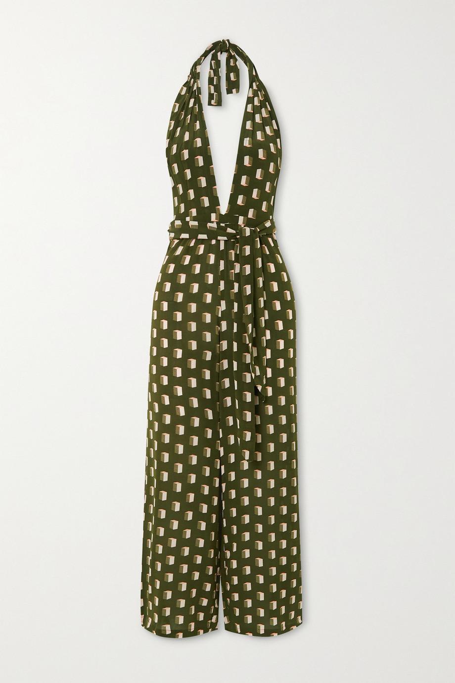 Evarae Sora printed silk crepe de chine halterneck jumpsuit