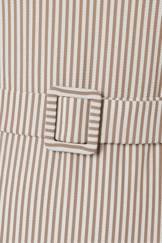 Evarae Uri belted cutout striped seersucker bandeau swimsuit