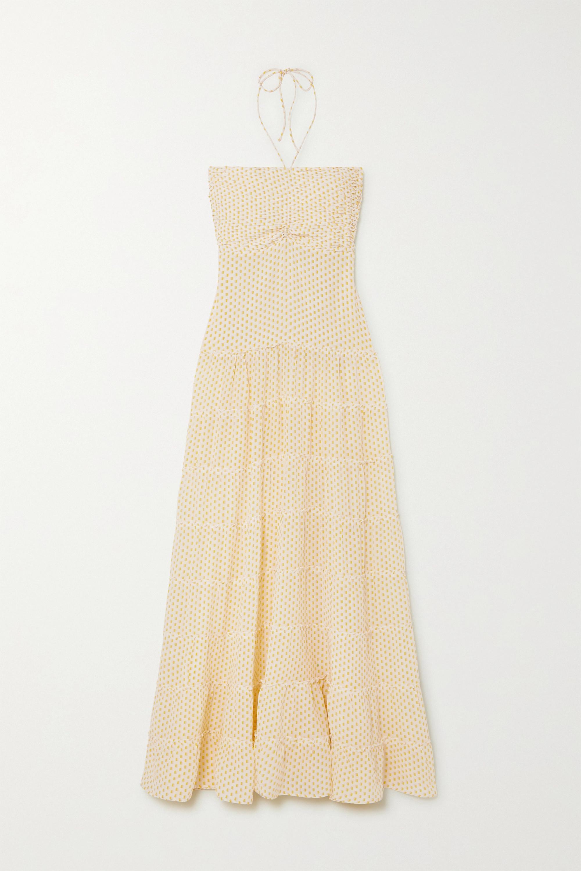 Yellow Phoebe Tiered Printed Silk Crepe De Chine Halterneck Maxi Dress | Evarae