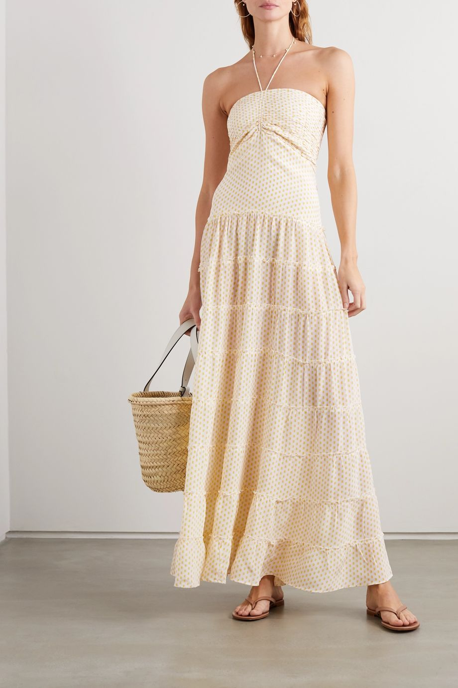 Evarae Phoebe tiered printed silk crepe de chine halterneck maxi dress