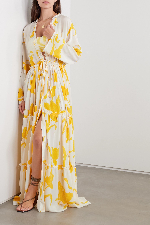 Evarae Taila ruffled floral-print silk crepe de chine robe