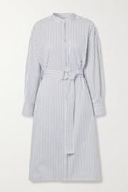 Jason Wu Belted striped cotton-poplin shirt dress
