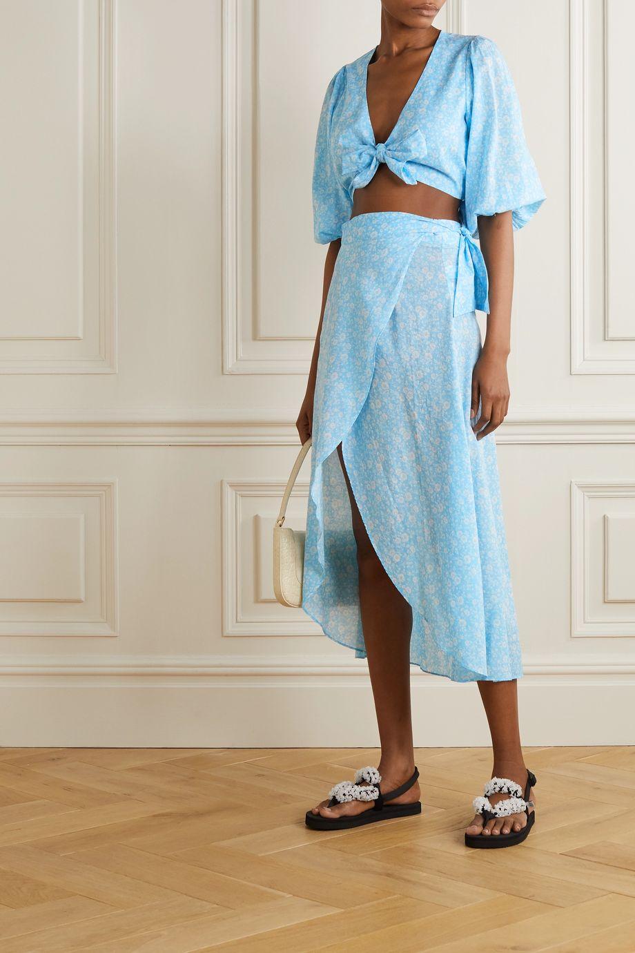 GANNI Tie-front floral-print cotton-voile top