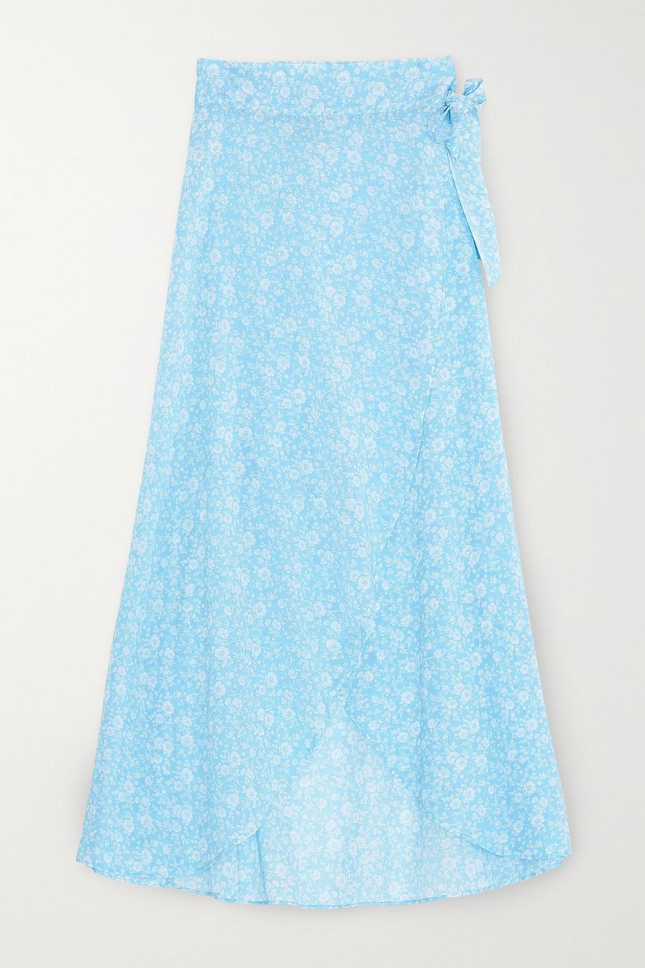 GANNI Floral-print cotton-voile wrap midi skirt