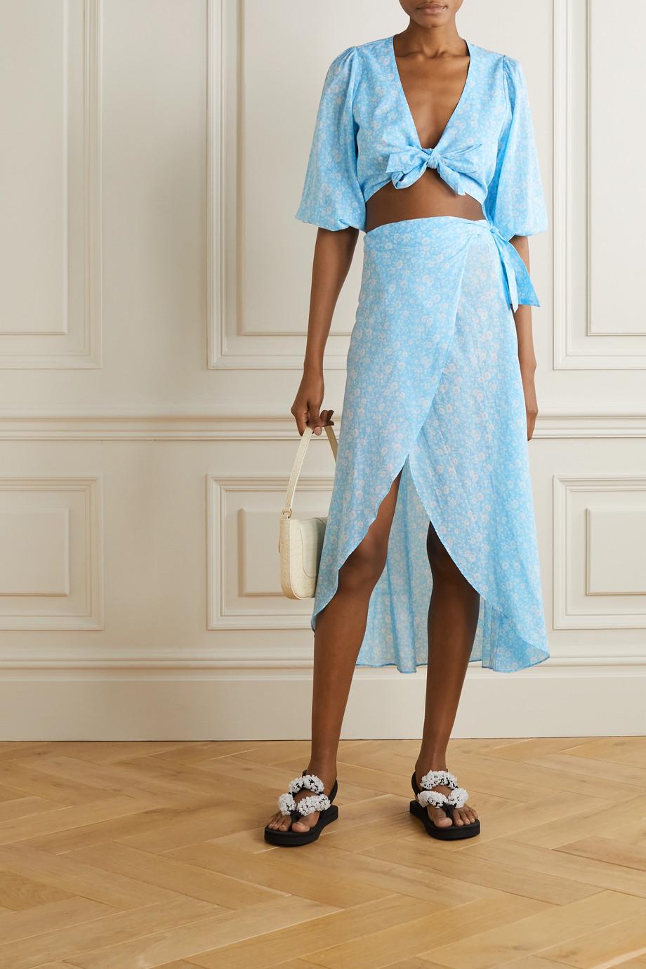 GANNI 花卉印花纯棉巴里纱围裹式中长半身裙
