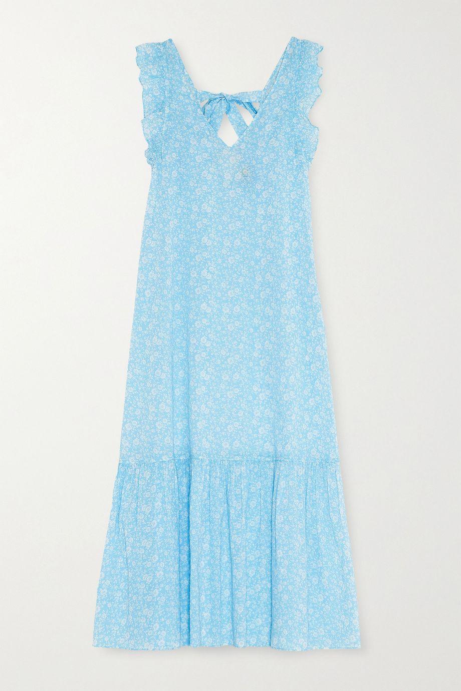 GANNI Ruffled floral-print cotton-voile midi dress