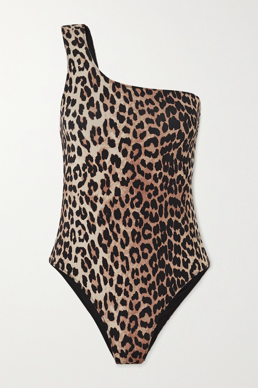 GANNI Badeanzug mit Leopardenprint und asymmetrischer Schulterpartie