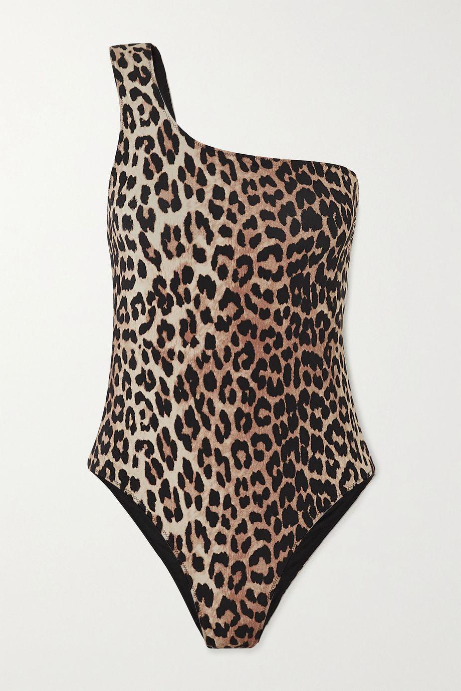 GANNI One-shoulder leopard-print swimsuit