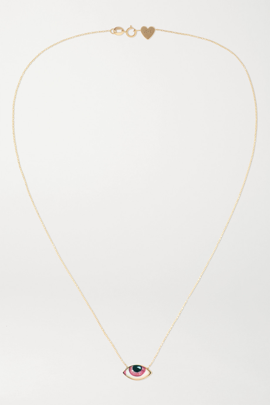 Lito + Racil Tu Es Partout 14-karat gold and enamel necklace