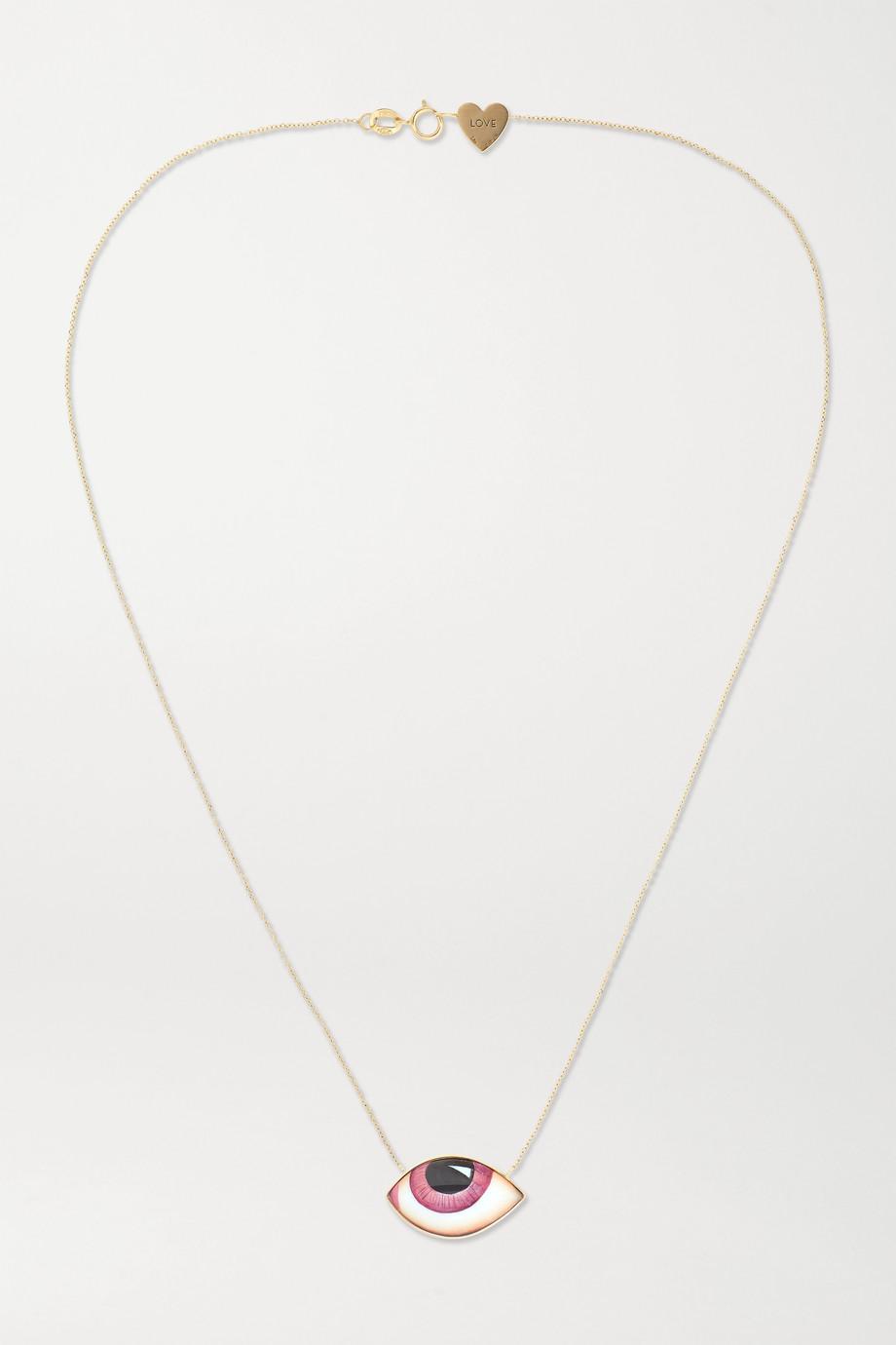 Lito + Racil Tu Es Partout 14-karat gold and enamel necklace