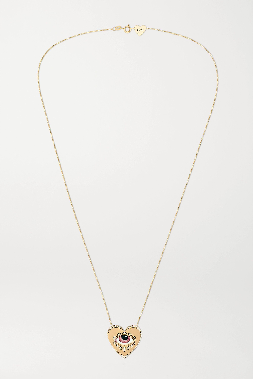 Lito Collier en or 14 carats, émail et diamants x Racil