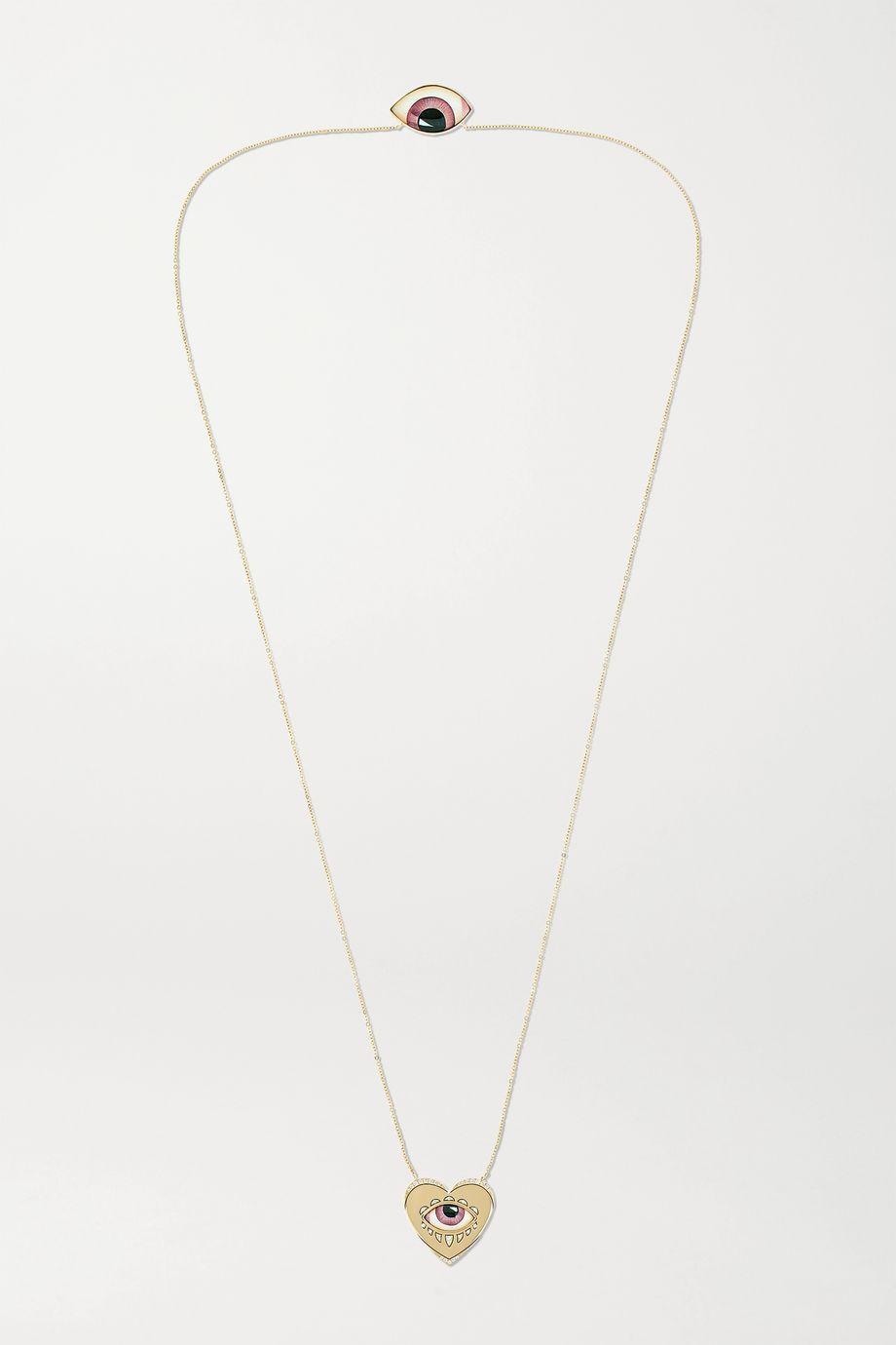 Lito + Racil 14-karat gold, enamel and diamond necklace