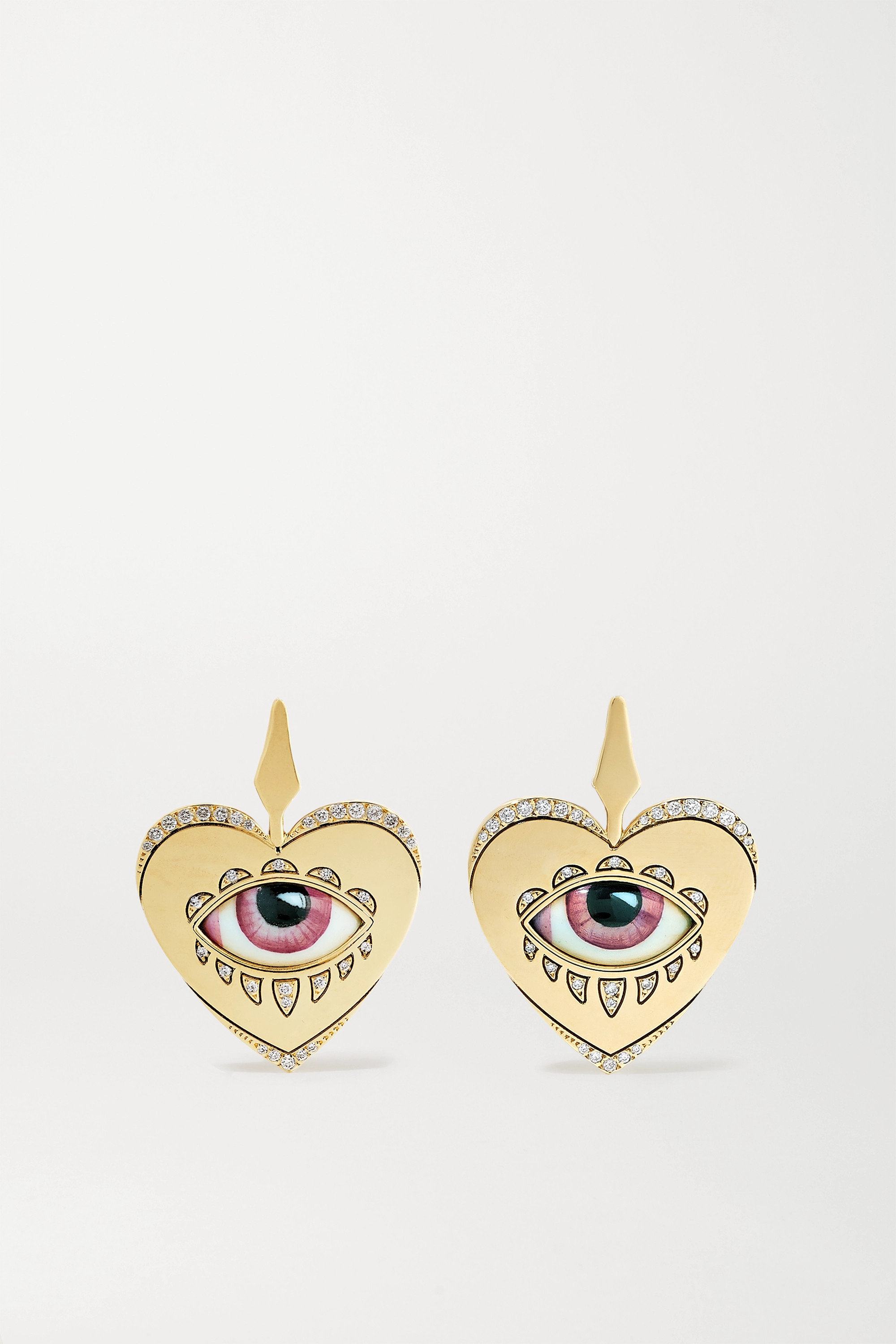 Lito + Racil 14-karat gold, enamel and diamond earrings