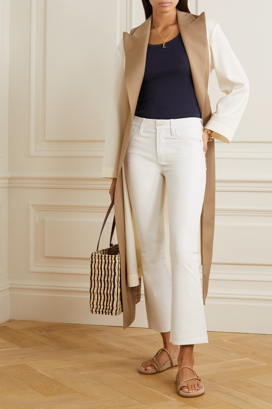 FRAME Pantalon en cuir Le Crop Mini Boot