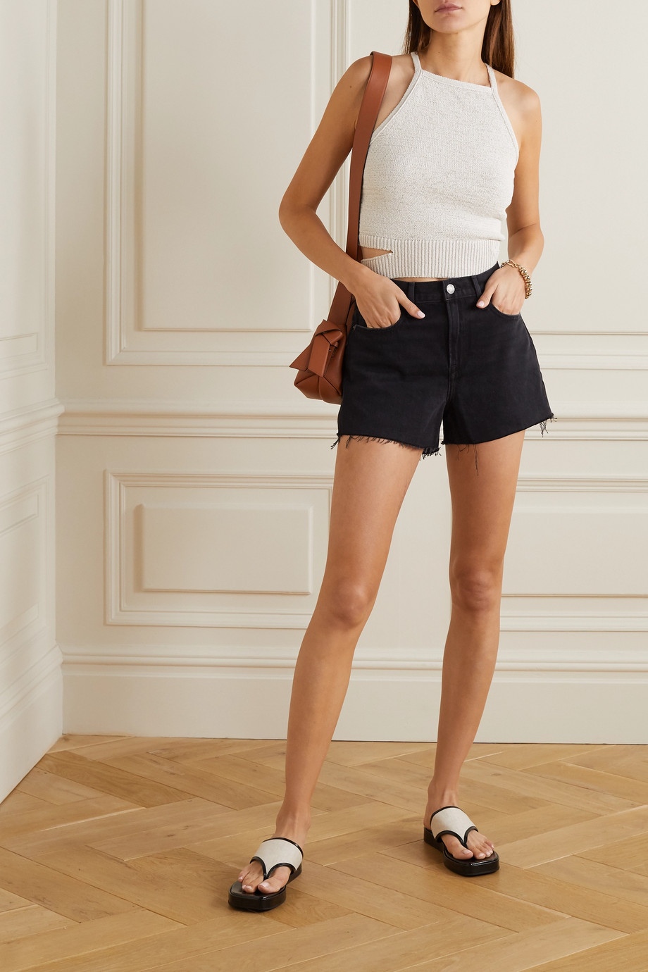 FRAME Le Brigette Jeansshorts in Distressed-Optik