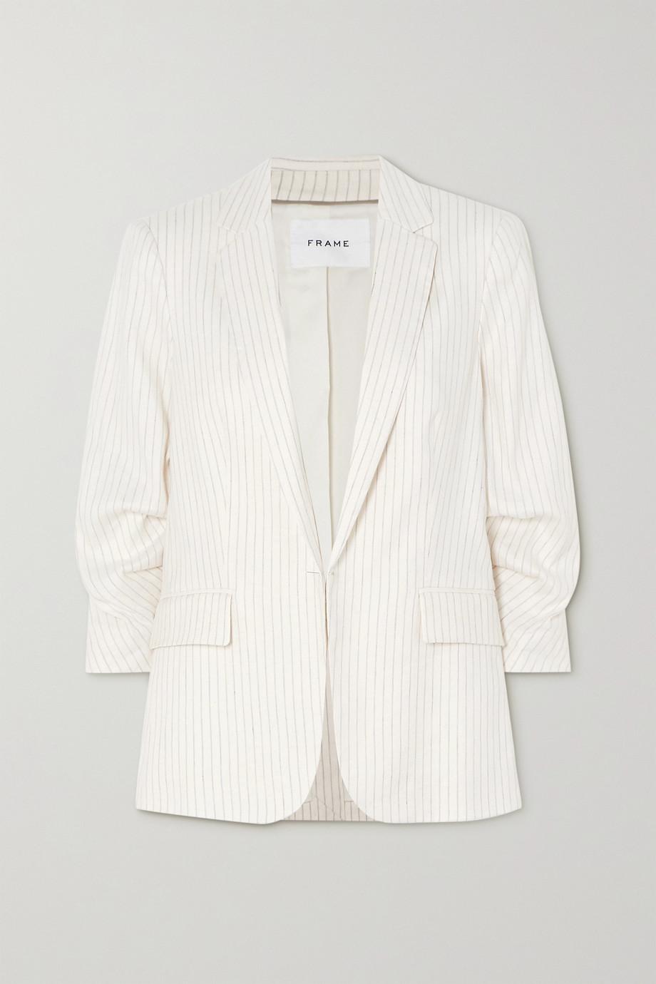 FRAME Pinstriped pleated linen-blend blazer