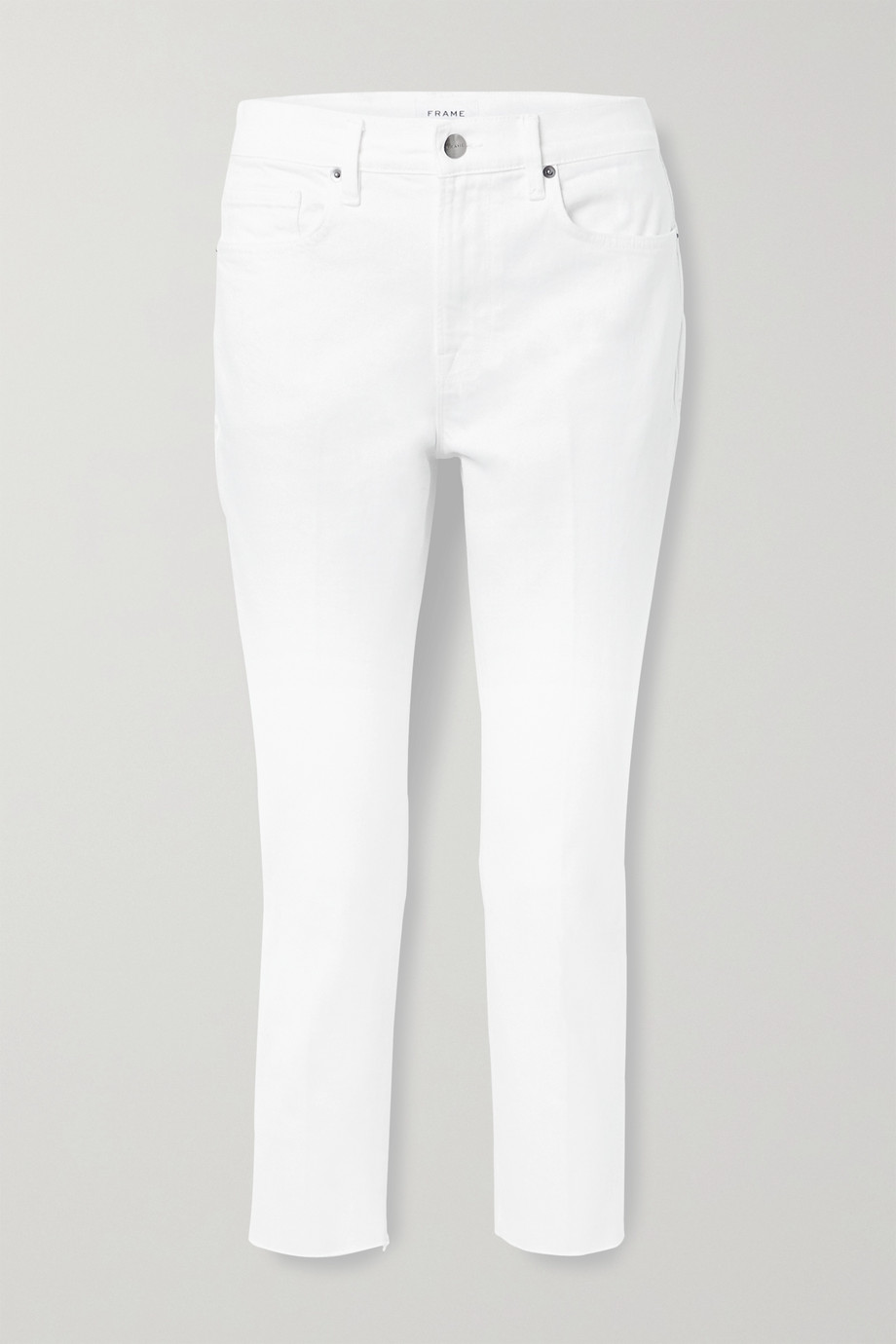 FRAME Le Beau cropped frayed high-rise straight-leg jeans