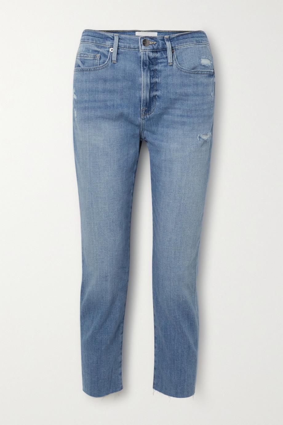 FRAME Le Beau cropped distressed boyfriend jeans