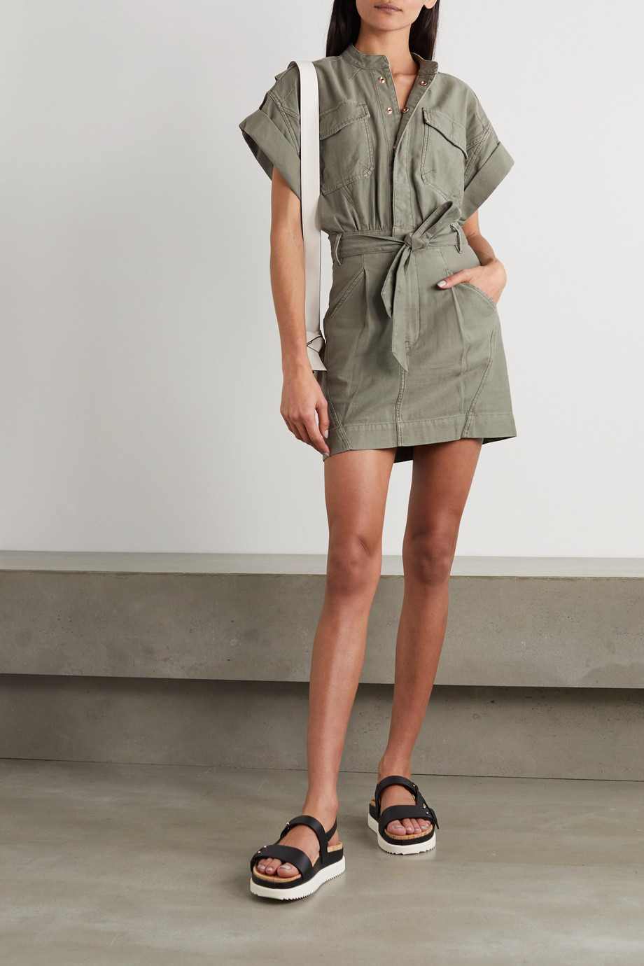 FRAME Belted washed-cotton mini shirt dress