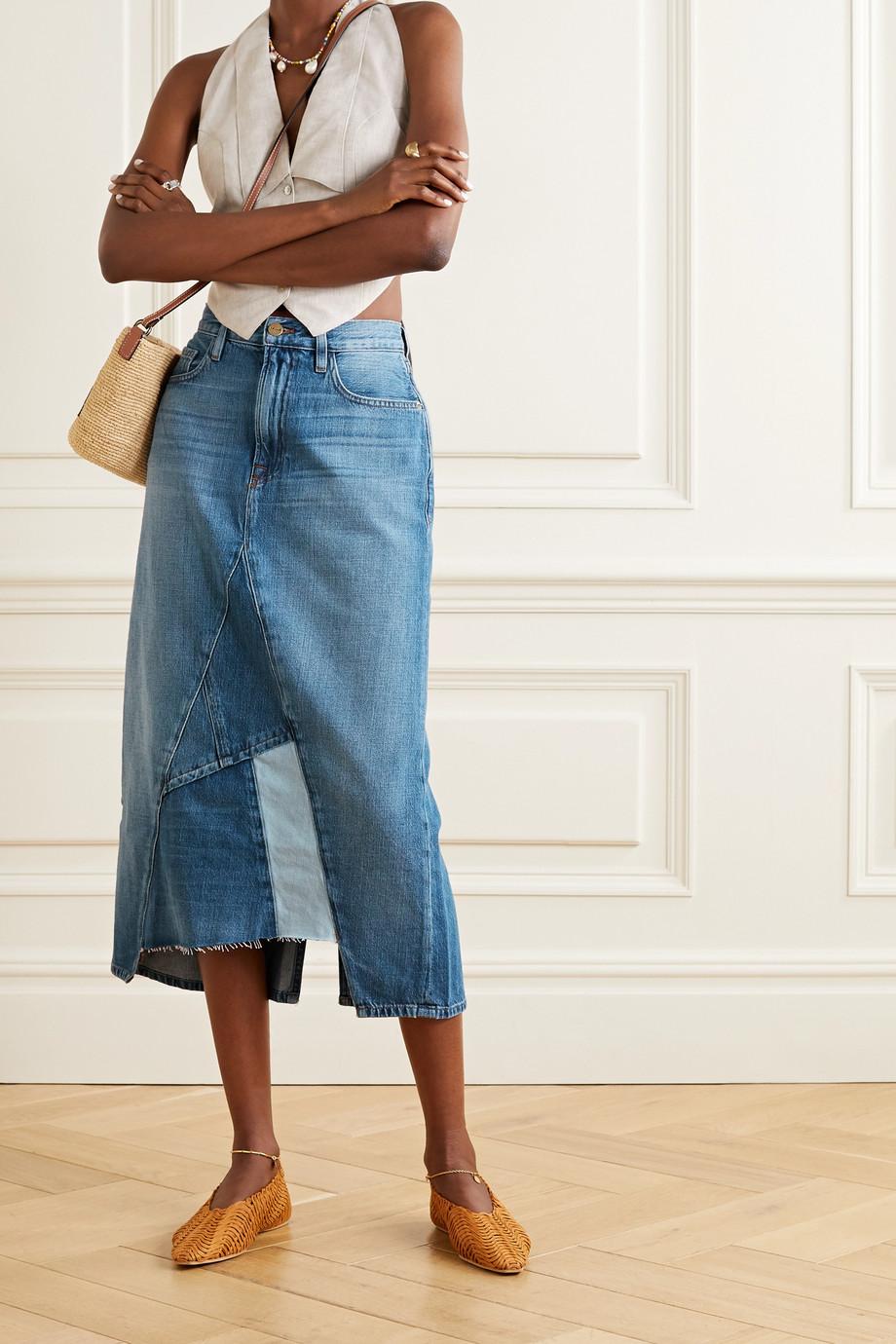 FRAME Le Midi 拼缝牛仔布中长半身裙