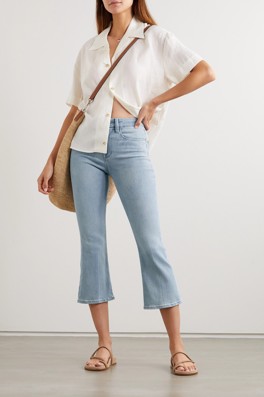 FRAME Le Pixie cropped high-rise bootcut jeans