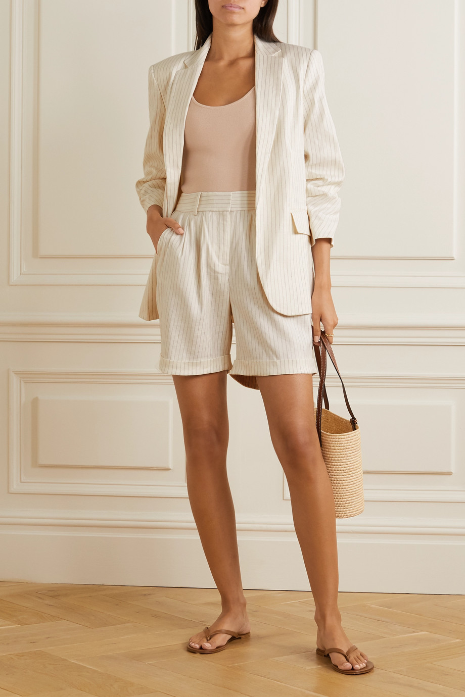 FRAME Pinstriped linen-blend shorts