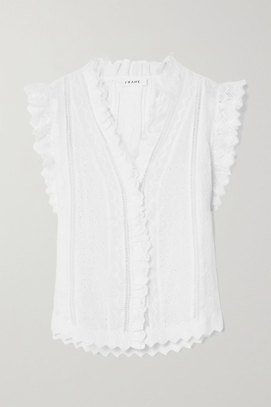 FRAME Lauren crochet-trimmed broderie anglaise ramie top