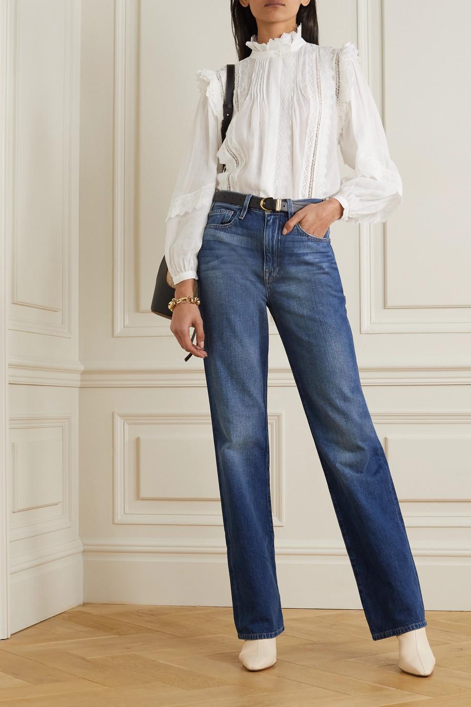 FRAME Natalie crochet-trimmed ramie blouse