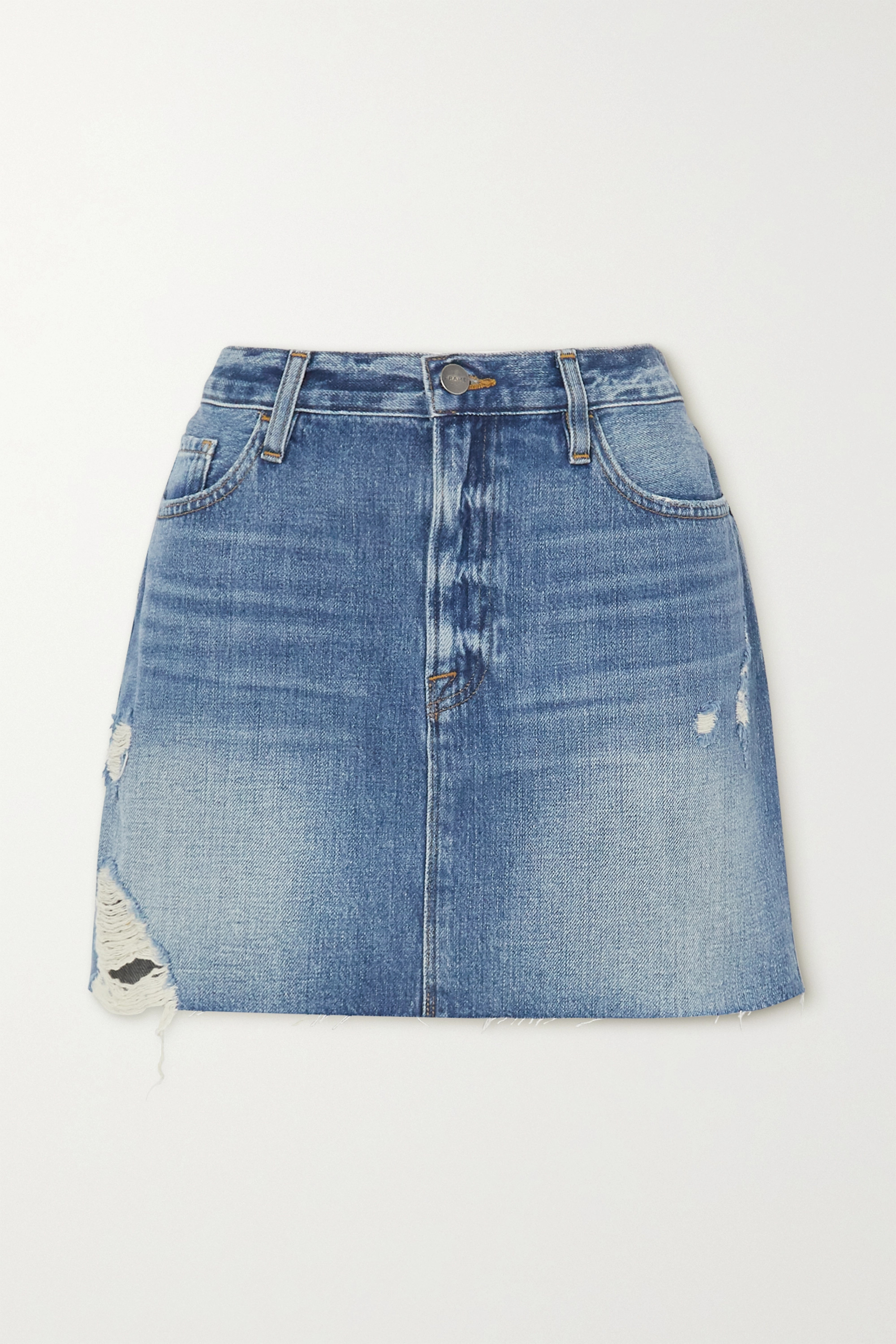 FRAME Le Mini distressed denim skirt