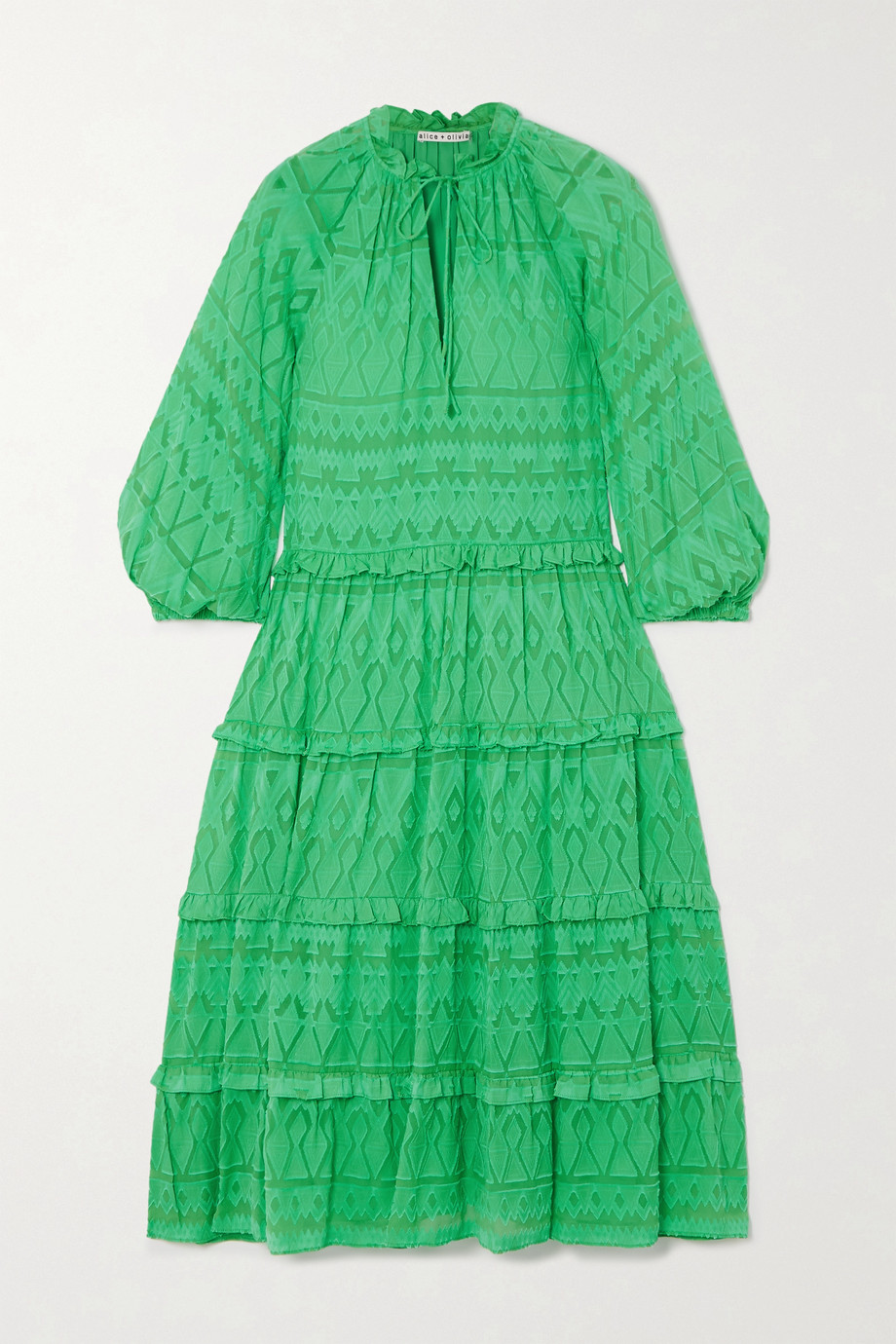 Alice + Olivia Layla tiered fil coupé silk and cotton-blend midi dress