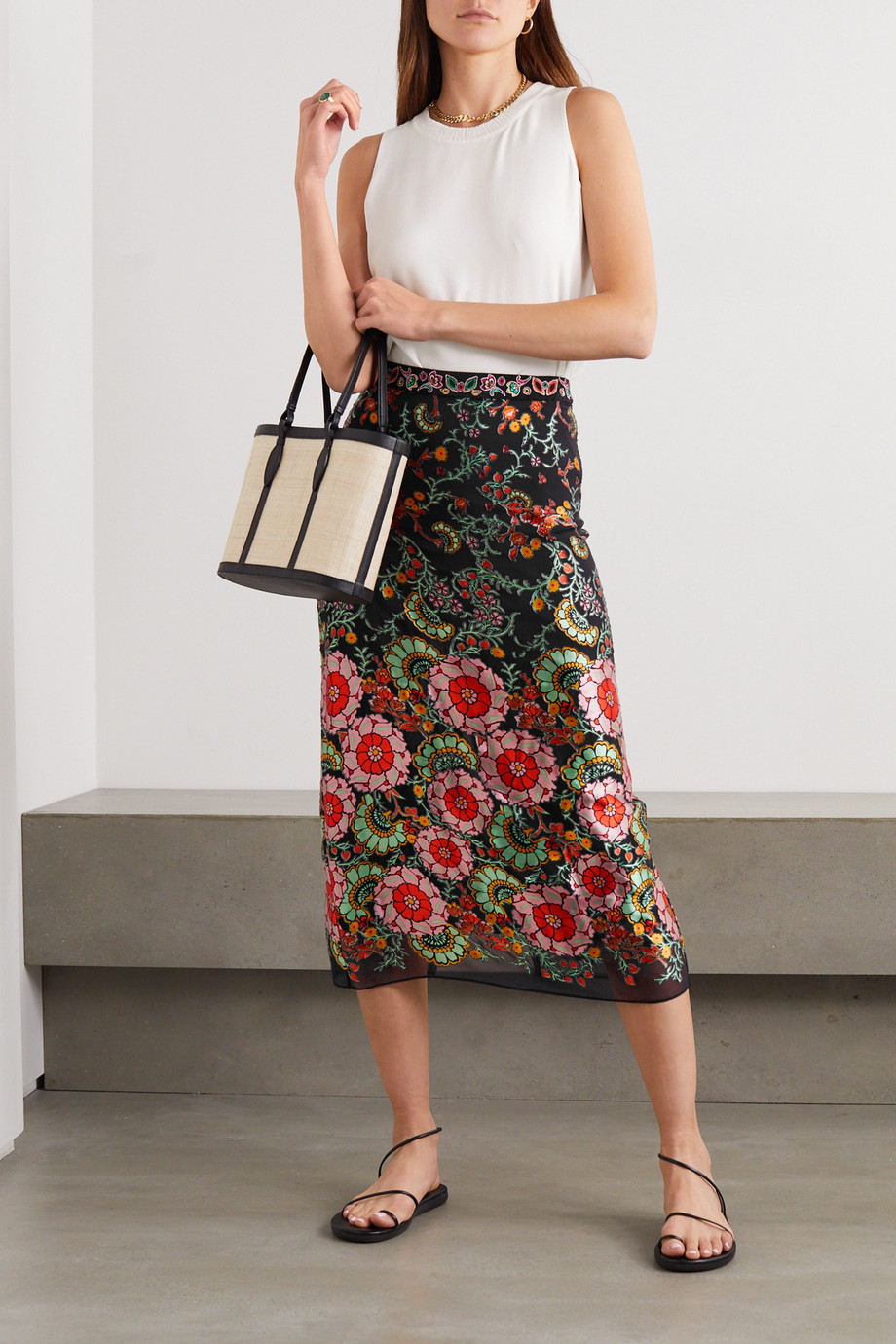 Alice + Olivia Maive printed devoré-satin midi skirt